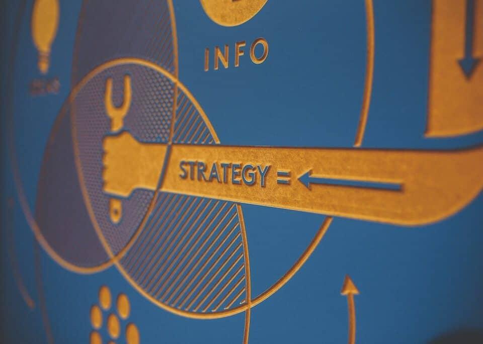 Wandtafel im Büro mit Stichwörtern Info und Strategie