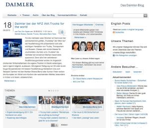 Das Daimler Blog im September 2012: magazinig, dialogorientiert, renommiert