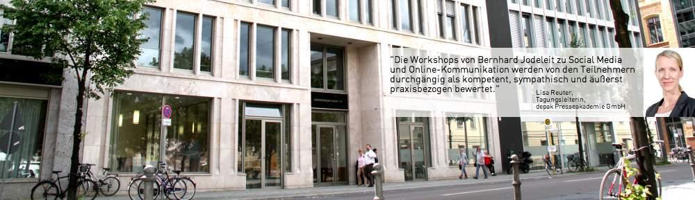 Viele Tagungen der Deutschen Presseakademie finden zentral in Berlin im Quadriga Forum am Werderschen Markt statt.