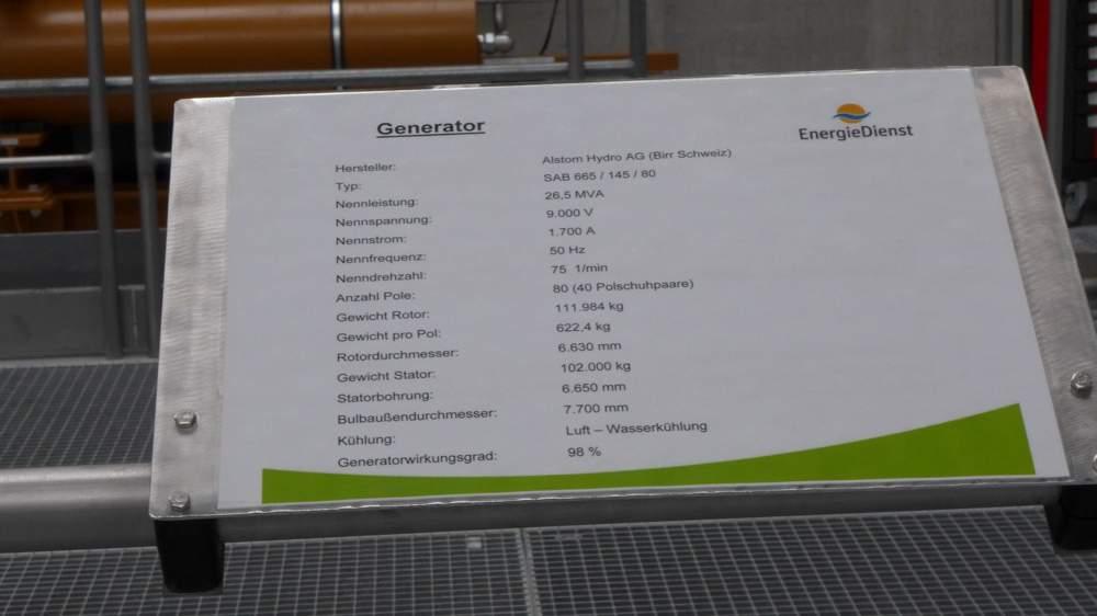 Der Generator im Wasserkraftwerk Rheinfelden: Wirkungsgrad liegt bei 98 Prozent.
