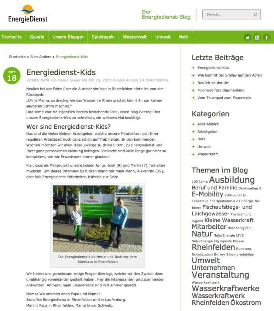 Energiedienst-Blog: Mitarbeiter bloggen abteilungsübergreifend und authentisch