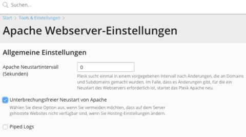 Screenshot Apache Webserver Einstellungen Plesk Unterbrechungsfreier Neustart von Apache