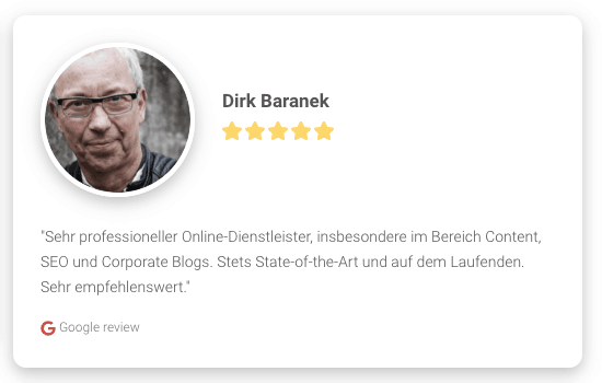 Screenshot: Google-Rezension als Widget auf Website