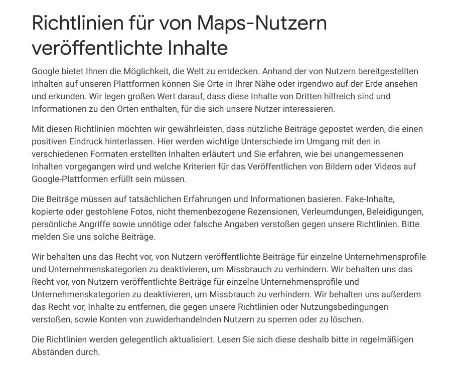 Screenshot Richtlinien für von Maps-Nutzern veröffentlichte Inhalte, Google-Richtlinie