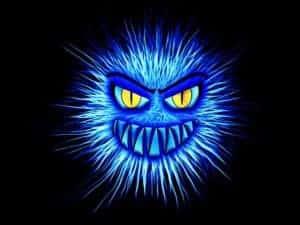 Blaues Monster als Symbol für Google-Spam-Einträge nach Website Hacks