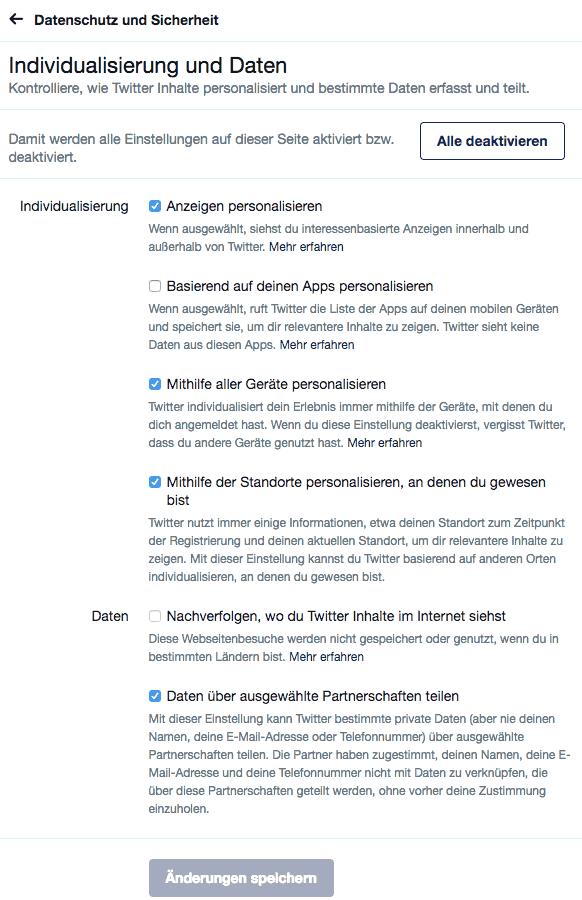 Screenshot Menü Individualisierung und Daten zur Deaktivierung des Twitter Tracking