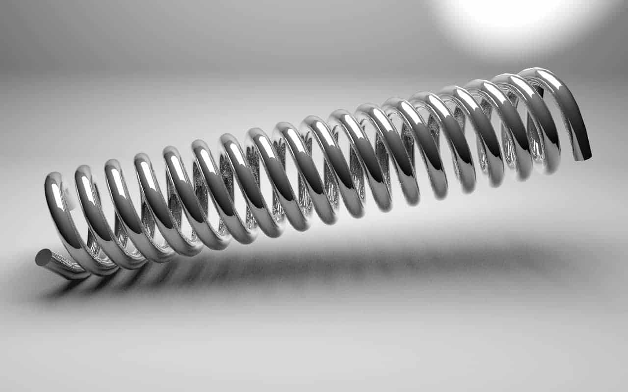 Metal spring as symbol for flexible adjustment in the sense of responsive design of a WordPress template