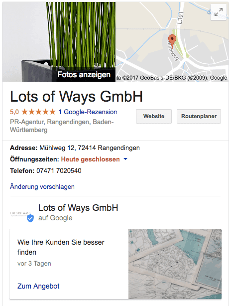 Anschrift, Kundenbewertungen, Öffnungszeiten und Neuigkeiten eines Unternehmens in Google Maps