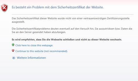 SSL Zertifikat Fehler Internet Explorer 11