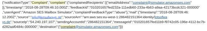 Amazon SES Complaint Notification