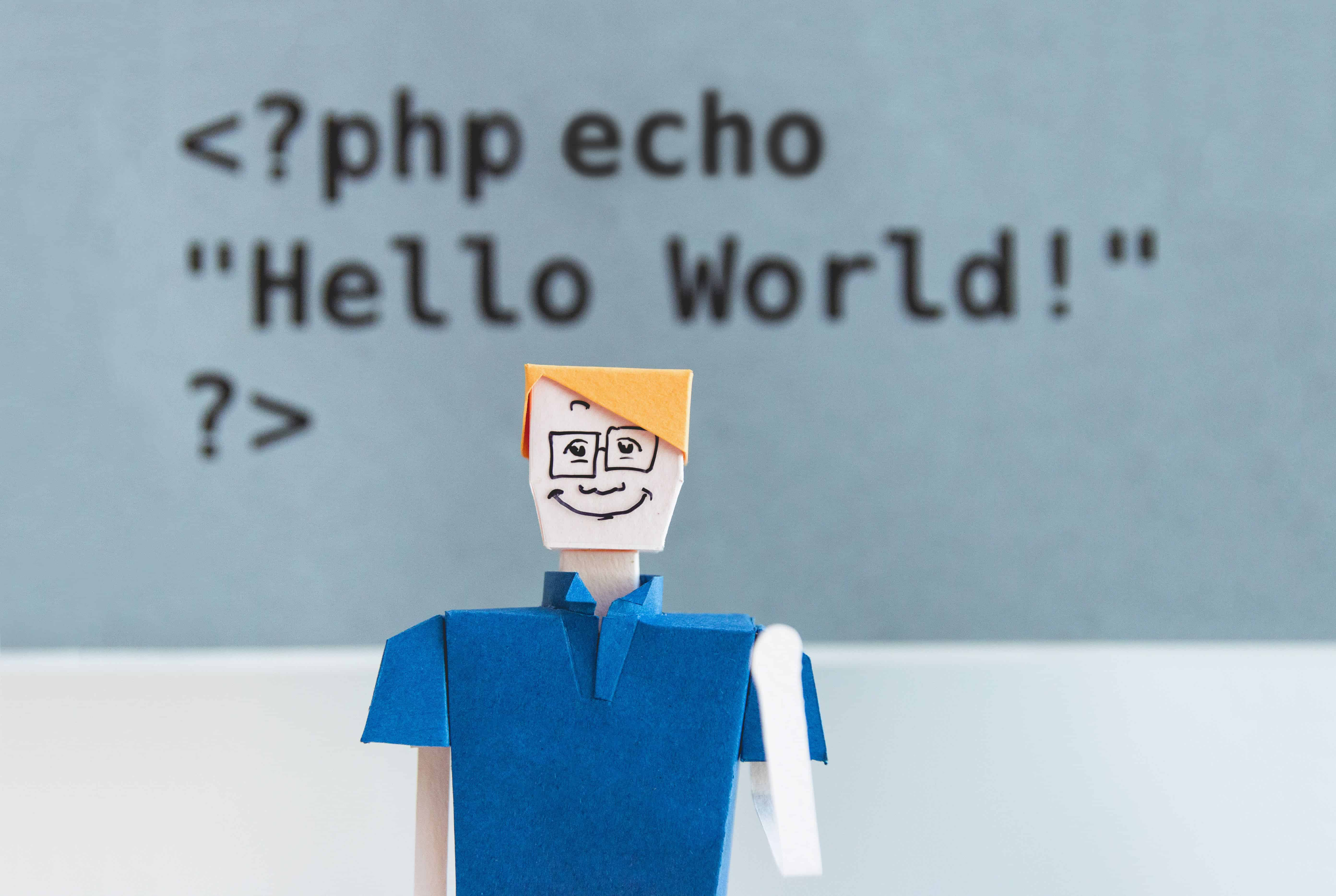 Cartoon figure in front of a lettering with PHP code