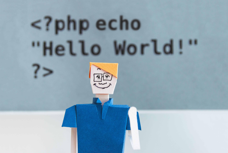 Cartoonfigur vor einem Schriftzug mit PHP Code
