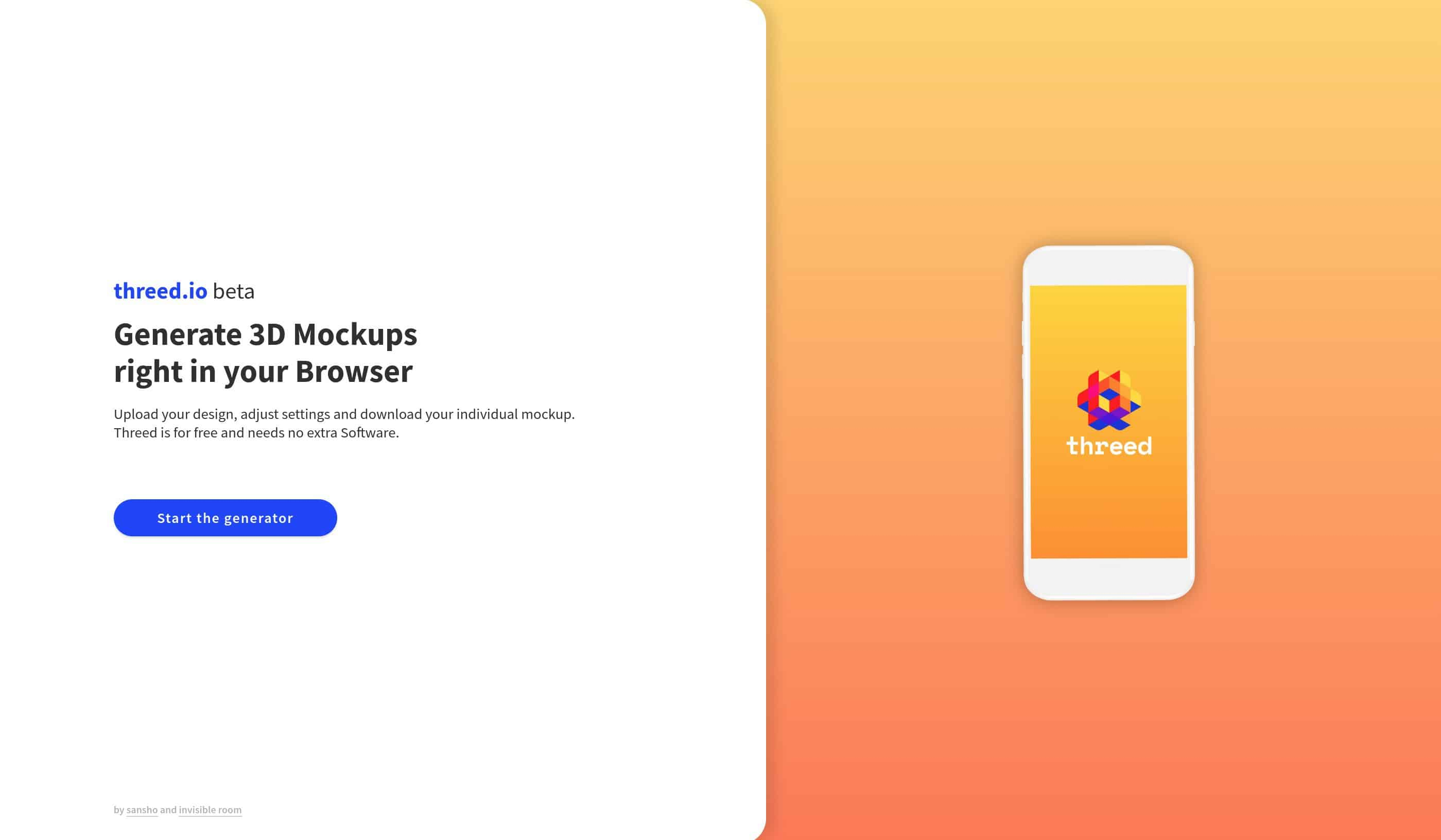 Screenshot of the homepage of threed.io, a free tool for smartphone display mockups