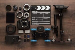 Video Equipment zur Produktion von Filmen von oben