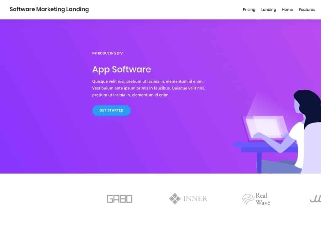 Und hier noch ein ganz anderes Beispiel: Ein Divi Theme Layout Pack, mit dem App- und Software-Anbieter ihre WordPress Website erstellen können.