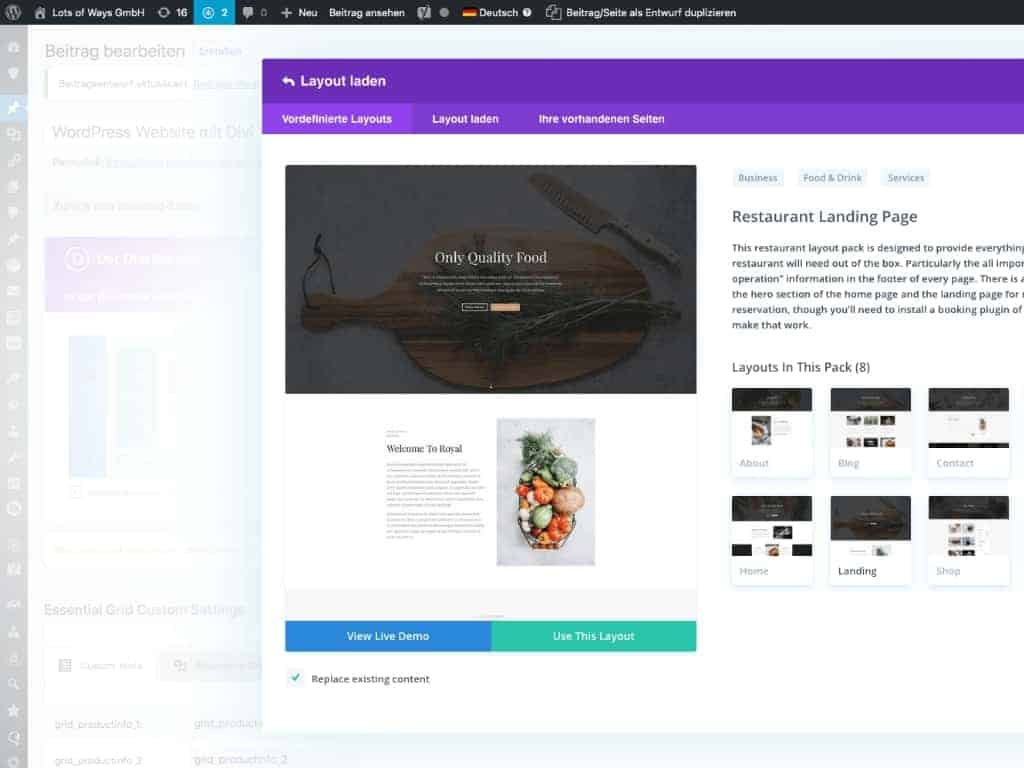 Screenshot: Load layout in Divi Theme