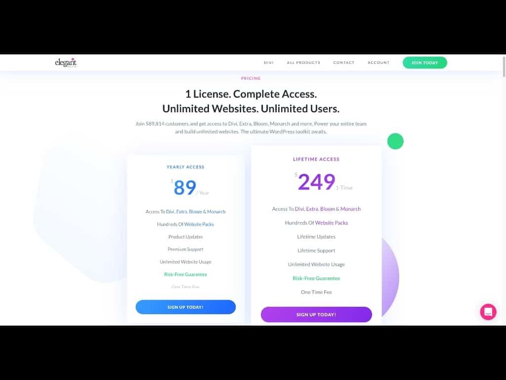 Was kostet das Divi Theme? Screenshot Preise Divi Theme 2019