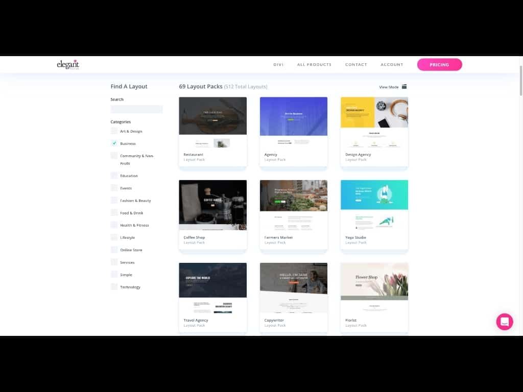 Screenshot: Business Divi Layout Packs