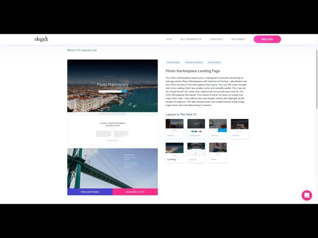 Screenshot: Detail-Ansicht Divi Theme Layout Pack mit Unterseiten