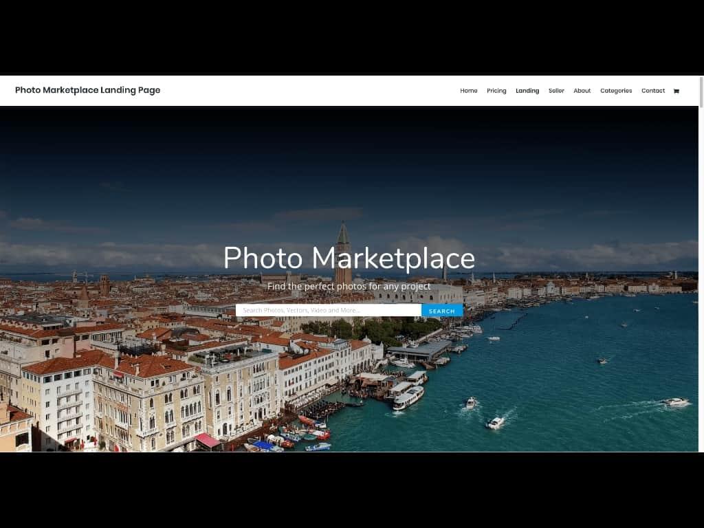 Divi Theme Vorlagen zum kostenlosen Erstellen einer Website gibt es für jeden denkbaren Bereich. Hier ein Template für einen Foto-Marktplatz.