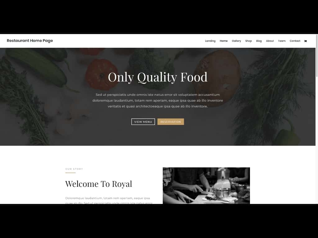 This example shows the template for a restaurant website included in the free Divi Theme Layout Packs.