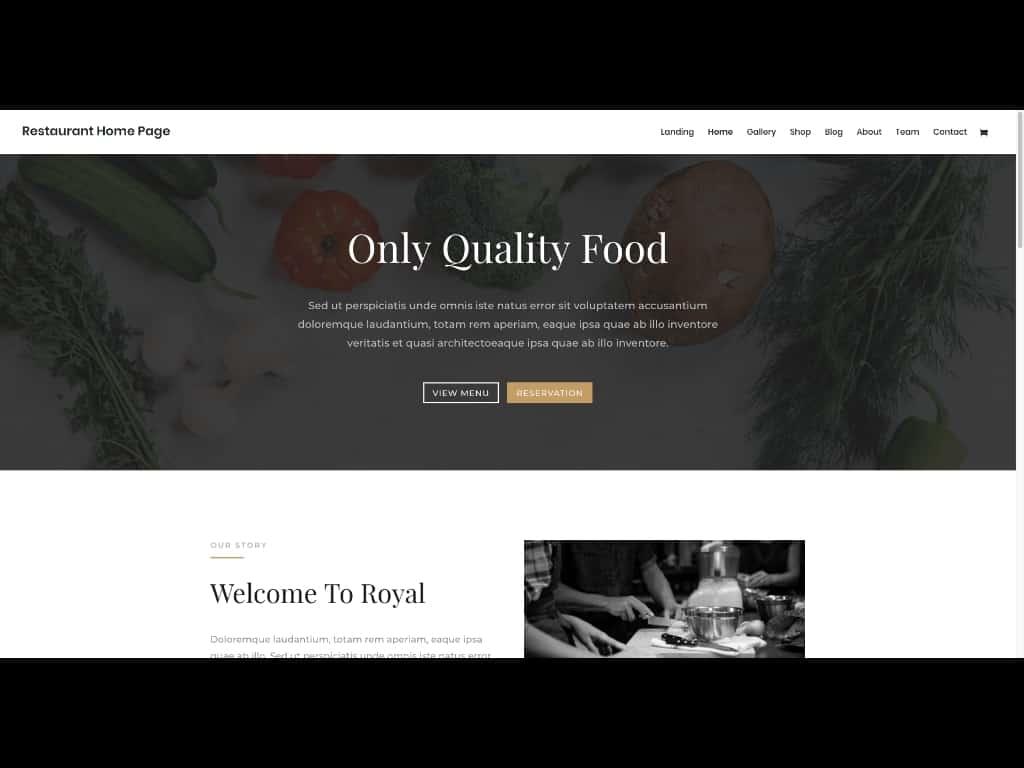 Dieses Beispiel zeigt die Vorlage für eine Restaurant-Website, die in den kostenlosen Layout Packs zum Divi Theme enthalten ist.