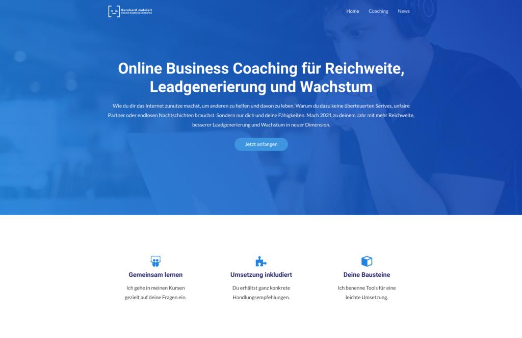 Screenshot der Website Bernhard Jodeleit Online Business Coaching jodeleit.com